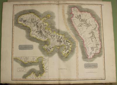 Martinique Dominica West Indies 1817 Thomson Antique Copper Engraved Map