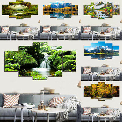 5pcs Modern Art Oil Landscape Painting Canvas Print Wall Art Picture Decor
