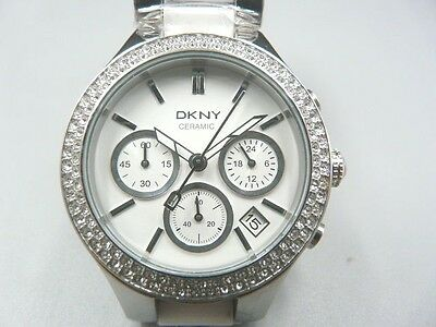 New Old Stock Dkny Ny8181 Ceramic & Stainless Steel Chronograph Quartz Men Watch