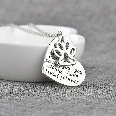 Women Silver Plated Pet Lover Animal Foot Dog Paw Print Heart Pendant WSW