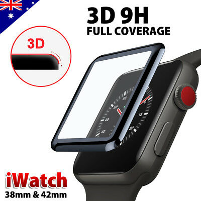 3D Curved Tempered Glass FULL COVERAGE Screen Protector For Apple Watch 38/42 mm