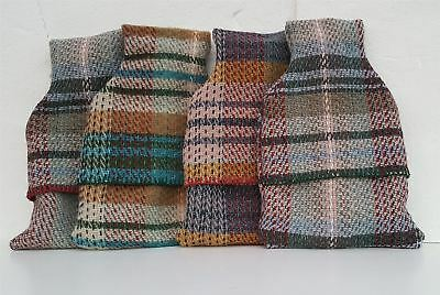Hot Water Bottle with Random Check Recycled All Wool Cover BRITISH MADE