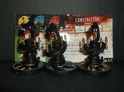 HORRORCLIX  Constrictor R.E.V. Set of 3 miniatures #025, #026, & #027, Base Set
