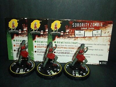 HORRORCLIX Sorority Zombie 3 miniatures #043, Rookie, Yellow, W/Cards Base Set