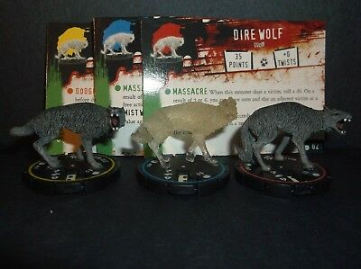 HORRORCLIX  Dire Wolf R.E.V. Set of 3 miniatures #019, #020, & #021, Base Set