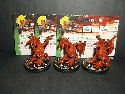 HORRORCLIX  Devil Imp 3 miniatures #022, Rookie, Yellow. W/Cards Base Set