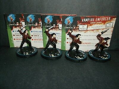 HORRORCLIX Vampire Enforcer 4 miniatures #041, Experienced Blue W/Cards Base Set