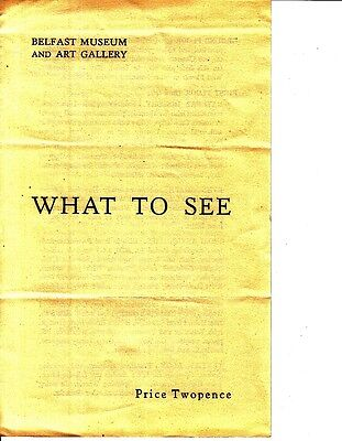 Belfast Museum and Art Gallery What To See Spring 1950 Ireland Brochure