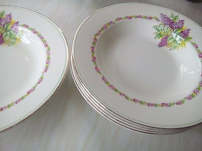 Barratts Vintage Collectors Made in England B Soup Dishes Bowls Gilded Edge x 5