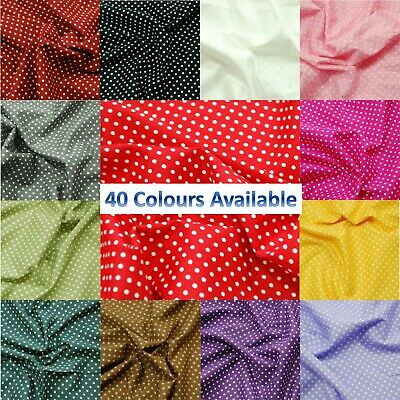 100% Cotton Poplin Fabric Rose & Hubble 3mm Spots Polka Dots Dotty