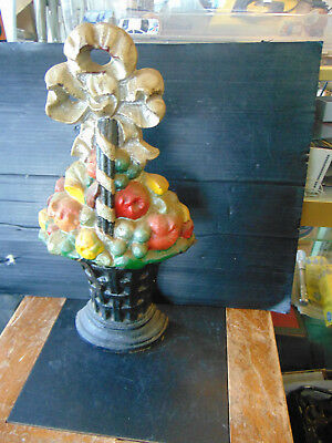 VINTAGE! Cast Iron Fruit Basket Door Stop 15 1/4   Inches