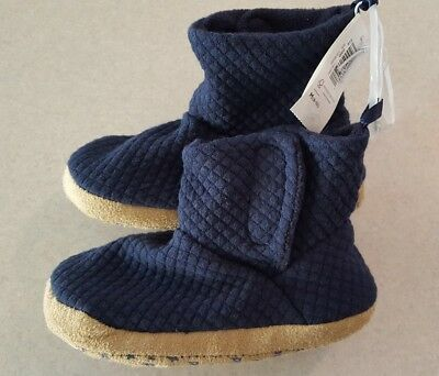 NWT Old Navy Toddler Boys 9-10 Quilted Jersey Bootie Slippers NAVY BLUE #32117