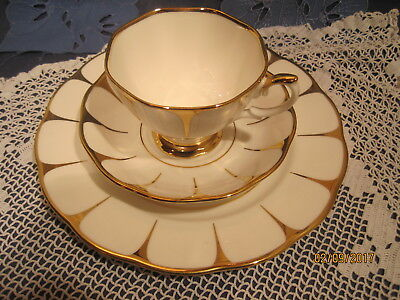 Royal Vale 3tlg. Sammelgedeck  Vergoldung, Bone China Porzellan Made in England