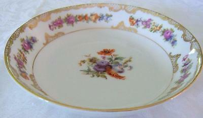 Royal  Bayreuth Dresden Flowers Gold Lattice Trim 7 inch Soup Salad Bowl