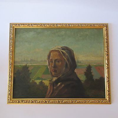 Russian? Mystery Artist Signed Antique Art Deco Era Portrait Painting Signed