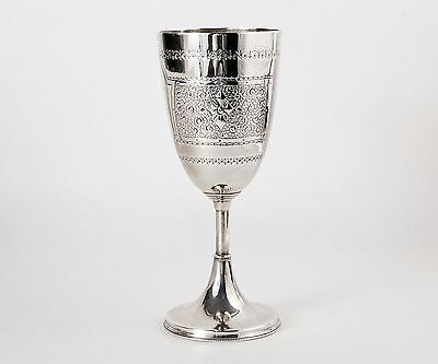 Unique Sterling Silver 1890 Hand Engraved Chalice