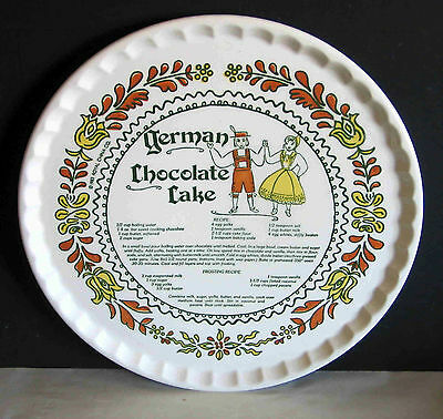 "German Chocolate Cake Plate w Recipe 1983 Royal China Co Vintage 11.5"" FREE SH"
