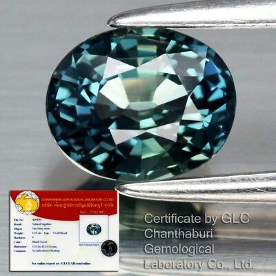IF Clean 1.16ct 6.4x5.3mm Oval Natural Unheated Bluish Green Sapphire *Certified
