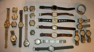 Lot of 25 Vintage Men's Watches ~ AS IS ~ Grand Prix, Orvin, Unitas, Sussex~More