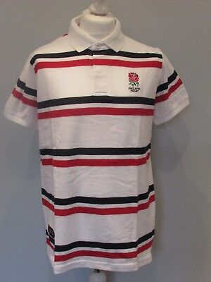 England Rugby Official Rfu Mens White Red & Navy Striped Polo Shirt S M L Xl Xxl