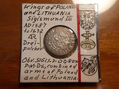 Poland, Lithuania 1587-1632, Silver, Sigismund III 3rd, Nice Condition, #5327