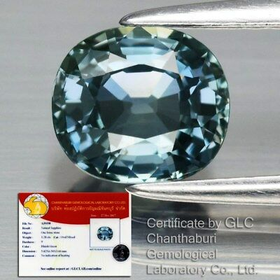 1.28ct 6.5x5.8mm IF Clean Oval Natural Unheated Bluish Green Sapphire *Certified