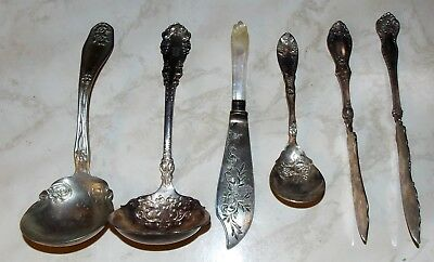 5 Antique Estate Silver Plate Serving Pieces Spoons Knives Mother Of Pearl