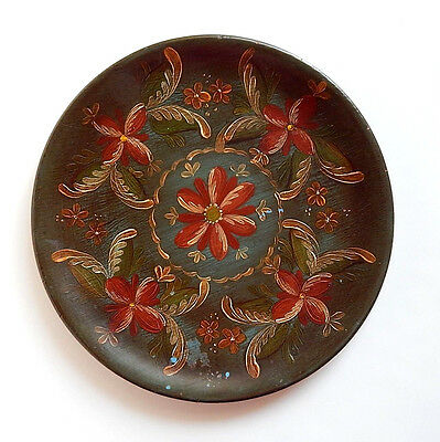 "Rosemaled Wood Plate 11"" Greenish Blue with Red & Yellow Flowers Signed Marion N"