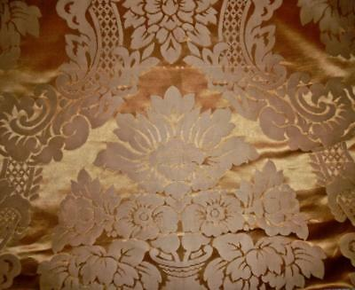 BEAUTIFUL 19th CENTURY FRENCH SILK DAMASK, DARK ANTIQUE GOLD