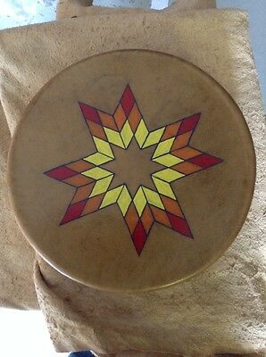 """10"""" Wide Native American Made Rawhide Drum Nez Perce Signed Painted Amazing"""