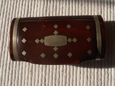 """Antique snuff box large size laquer ware silver or pewter inlay  5"""" 19th century"""