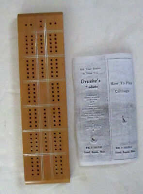 Vintage Drueke's Hardwood Cribbage Board 6 Pegs How to Play  Instructions