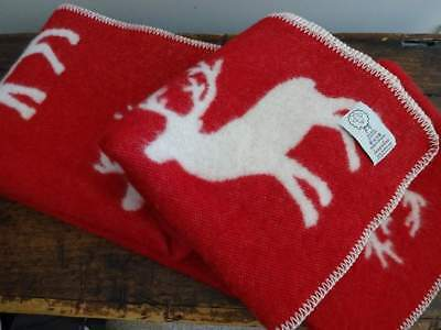 LANA & LINO RED Cream Jacquard WOOL REINDEER Stag  LODGE Cabin THROW BLANKET