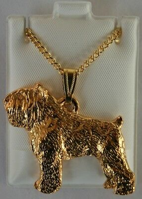 Bouvier des Flandres Crop Dog 24K Gold Plated Pewter Pendant Chain Necklace Set