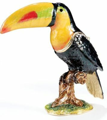 Tropical Toucan Bejeweled Enamel Jewelry Trinket Box
