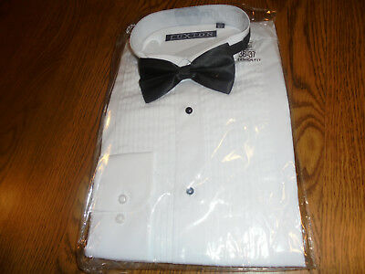 NEW Men's Wing collar Tuxedo Shirt with Bow tie, pleat & ADJUSTED CUFFS 16-161/2