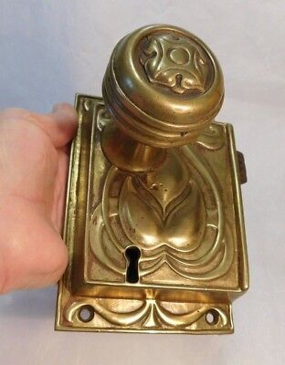 Antique Brass / Bronze Ornate Art Nouveau / Deco Door Knob  Lock Set Mkr. Marks