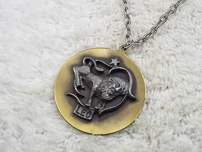 Zodiac Silvertone Brass Leo Lion Pendant Necklace  (A45)