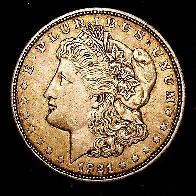 1921 D ~**ABOUT UNCIRCULATED AU**~ Silver Morgan Dollar Rare US Old Coin! #R33
