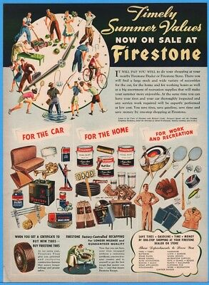 1943 Firestone Store Tires Auto Parts Sporting Goods Work Clothes Print Ad