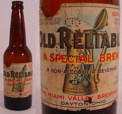 1920's OLD RELIABLE SPECIAL BREW Dayton,Ohio PROHIBITION-ERA Beer Bottle & LABEL