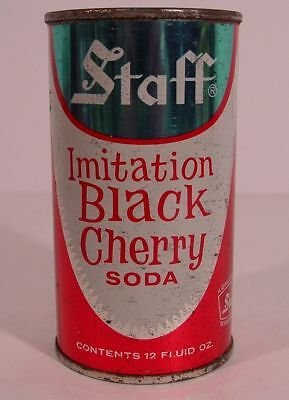 STAFF IMITATION BLACK CHERRY SODA 12 oz Flat Top Pop Can ~ GREAT NECK, NEW YORK