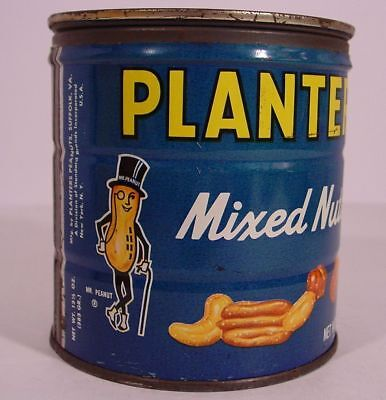 Estate Fresh! PLANTERS PEANUTS MIXED NUTS 13 1/2 oz KEYWIND Tin Can GRAPHIC LID