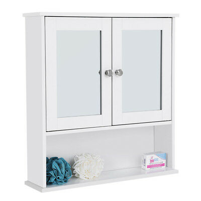 Bathroom Wall Wall-Mounted Cabinet Storage Cupboard Double Mirrored White LHC002