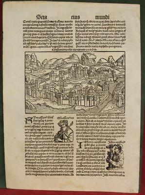 Istanbul (Constantinople) Turkey 1497 Schedel Unusual Antique Woodcut View