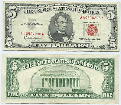 $5 -93- 1963 Five Dollar United States Note Red Seal