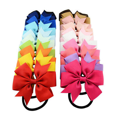 1 Piece Baby Girls Boutique Grosgrain Ribbon Bows Hair Rope Band Accessories