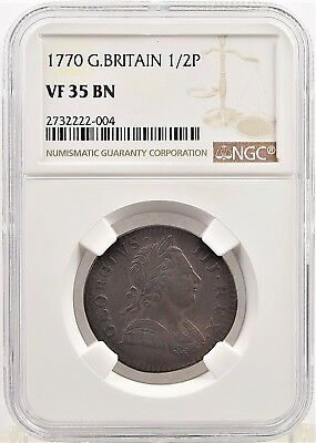 1770 NGC VF 35 BN Great Britain ½ Penny (b144.32)