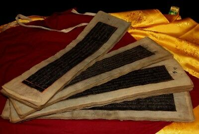 "Amazing 18th Century Old Antique Tibet ""Silver Powder"" Manuscript Sutra Lection"