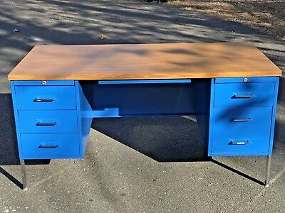 Mid Century Blue Steel Metal Chrome Tanker Desk Herman Miller George Nelson?